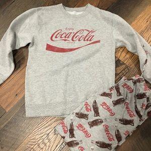 Coca Cola sweatshirt and pajama pants
